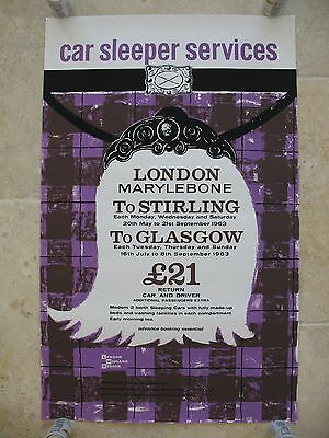 Original 1963 British Railways Poster Car Sleeper London Stirling Glasgow