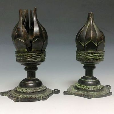 A Pair Rare Chinese Bronze Statue -- Lotus sets NR  gd5265