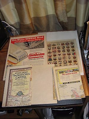 3 VINTAGE MAPS (30's-50's) - 2 SHEETS MAGAZINE ADS - AMERICAN TERRITORY - P111
