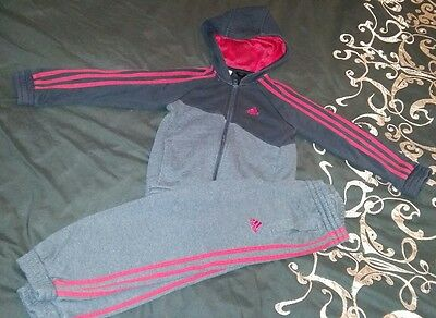 boys grey and red adidas tracksuit 4-5