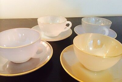 Arcopal Harlequin France Pearlescent Pastel Coffee Espresso 4 cups & saucers