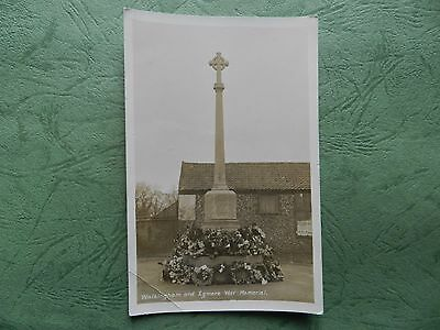 Vintage Real Photo Postcard - Walsingham & Egmere War Memorial , Norfolk