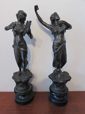 Antique Pair Of Art Nouveau Spelter Figures, Late 19Th Century