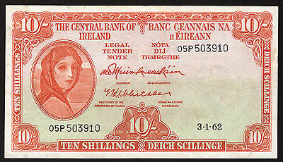 Ireland Eire 10 Shilling Notes 1962-1968. Six notes, one of each date, all VF.