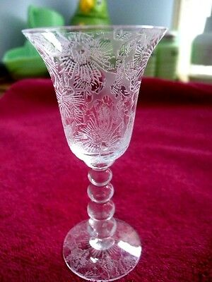 Imperial Glass Candlewick 3400 Cordial Etched Rose of Sharon aka Wild Rose Ex