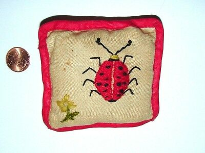 Antique Vintage LADYBUG Cotton & Wool Embroidered Pin Cushion, Handmade