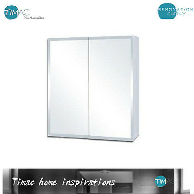 H720 x W750 Bevel Edge Mirror Shaving Cabinet Medicine Bathroom Vanity White