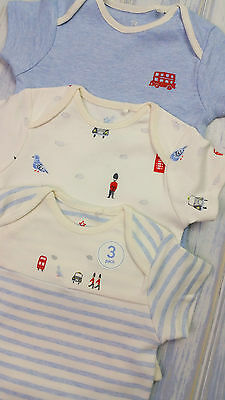 Baby Boys NEXT x3 Short Sleeve Bodysuits Vests 0-3 Months BNWT Combine Postage
