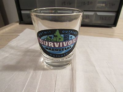 Survivor MARQUESAS Outwit Outlast Shot Glass,very nice.