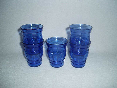 5 Hazel Atlas Cobalt Blue RING O RINGS Whiskey or Shot Glass Tumblers Free Ship