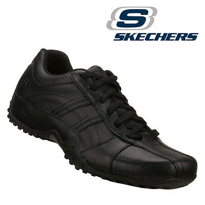 Mens Skechers Rockland Systemic Lace-Up Work Shoes Black Leth 76832 NEW Non-Slip