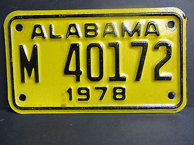1978 Alabama  Motorcycle License Plate # M  40172