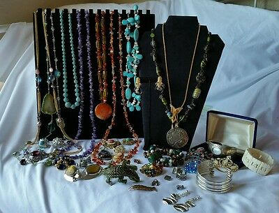 Lot  good costume jewelry,  silver, white gold diamond sapphire earrings & more