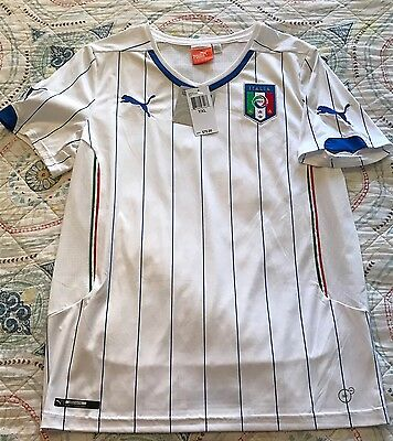 Kids white PUMA Italy away Soccer Jersey Short Sleeve SZ~Youth Large Retail $70
