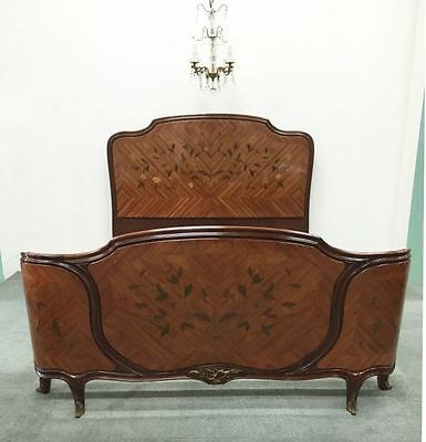 Antique French Double Bed - Louis XV  Floral Marquetry Corbeille Style - v1168