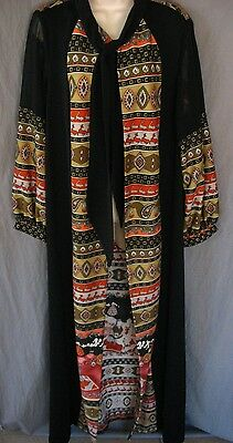 80s Oriental Long Sheer Boho Jacket Cover Up Asian Attached Scarf Small