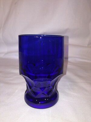 Vintage Cambridge Glass Georgian Cobalt Blue Glass Flat Tumbler 12oz Large