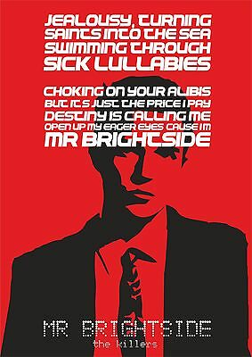 The Killers Mr Brightside - Song lyric poster typography art print