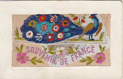 Silk Souvenir de France WWI Peacock with US and other Flags