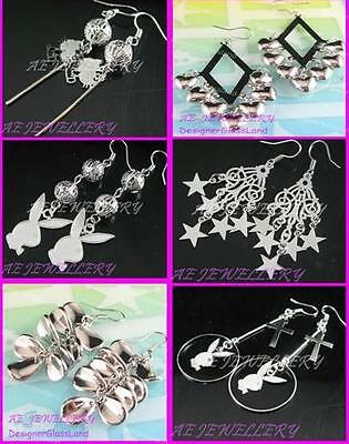AW633Wholesale Lot 6 pairs Silver Plated Rhinestone Rabbit Star Dangle Earrings