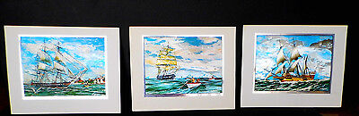 Set of 3 Color Etch PRINTS William Van Powell's REVOLUTIONARY WARSHIPS of 1776