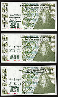 Ireland B Series £1 One Pound note Queen Medb 1986, 3 in sequence AU/UNC