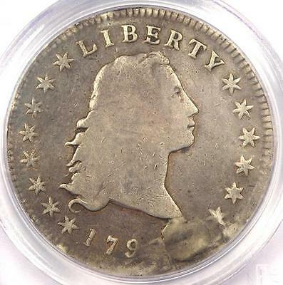 1795 Flowing Hair Silver Dollar ($1 Coin, 3 Leaves) - PCGS Genuine - VG Details!