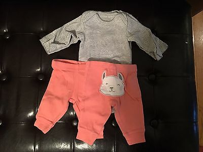Carters Newborn Onesies And Pants Outfit Cute - Twin Set (2) Newborn