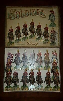 McLoughlin Bros Cavalry Soldiers Paper Cardstock Lithograph Boxed Antique