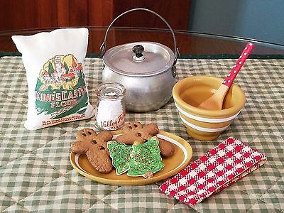 Vtg Tin Toy Kitchen-Assorted Baking Day Goodies-Wood Spoon,Lidded Pot,Cookies