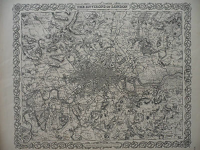 Rare / Authentic; Environs of London; Map, J.H. Colton 1855, Engraving