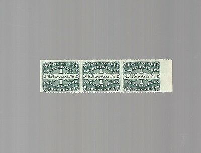 Private Die Proprietary Medicine Stamp RS-87D horizontal strip of three 1 cent
