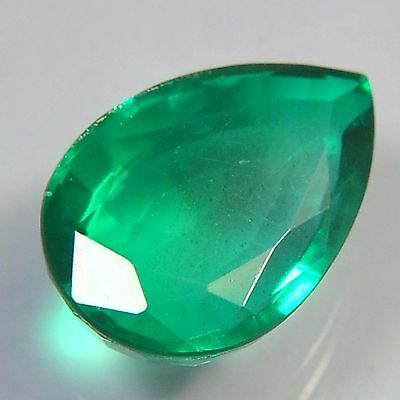 E21@ 15.65 Cts royal green emerald doublets quartz pear cut gemstone for jewelry