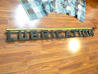 """RARE Primitive HOMEMADE Oil Gas Service Station LUBRICATION Wood Sign 66"""" Long"""
