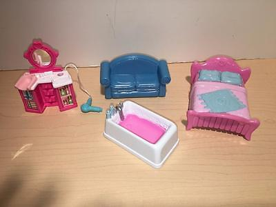 Sweet Streets doll accessory dollhouse furniture lot-Beauty Parlor-Bathtub-bed
