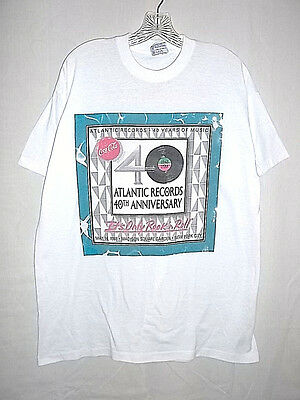 Atlantic Records 40th Anniversary 1988 Led Zeppelin Yes Genesis Adult XL T-Shirt