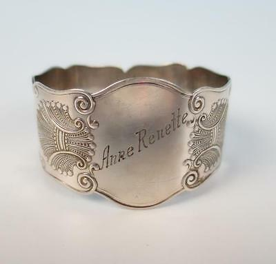 Antique Magnus Aase Norwegian Silver Napkin Ring Fancy Shell 830 Norway Engraved