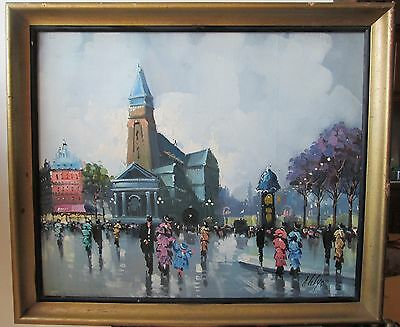 VINTAGE old SIGNED Delys FRENCH Impressionist PARIS OIL PAINTING on canvas