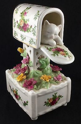 Royal Albert 1962 Old Country Roses Musical Figurine Cat In Mail Letter Box