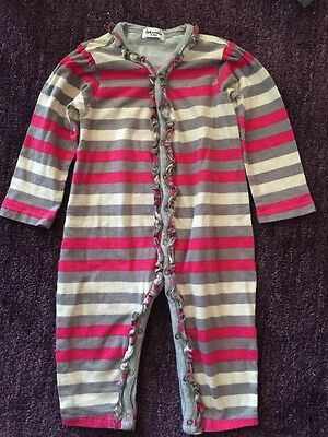 EUC SPLENDID Pink Gray Cream Stripe Ruffle One Piece Outfit 6 9 12 mo