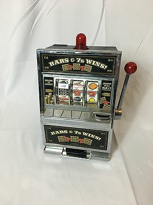 Bars & 7s Wins! Slot Machine Replica Toy Bank Casino Game Coins