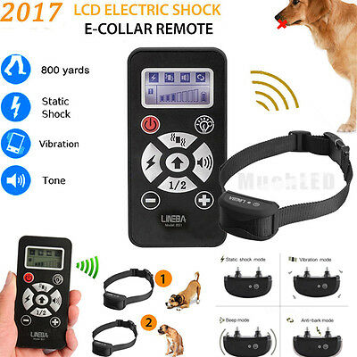 2018 Waterproof Electric Shock Remote Training Collar Bark Collar for 1-2 Dogs