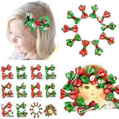 20pcs Baby Girls Kids Boutique Grosgrain Ribbon Bow Tie Hair Clip Band Xmas Gift