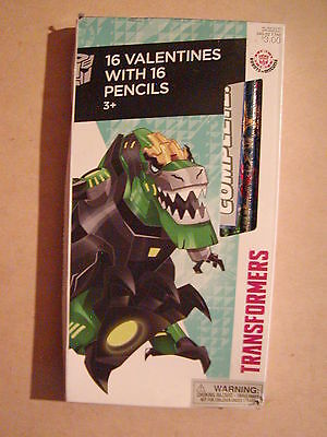 Transformers  16 Valentines Cards And 16 Pencils Brand New