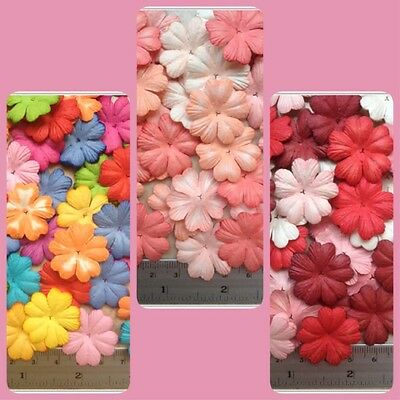 Artificial Mulberry Paper Flowers Heart 5 Petals Handmade Scrapbooking Craft#AU