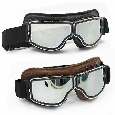 Leather Motorcycle Motorbike Glasses Scooter Cruiser Helmet Goggles For Harley