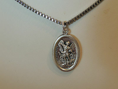 St Michael - Guardian - Medal Stainless Steel Box Chain Necklace 60Cm