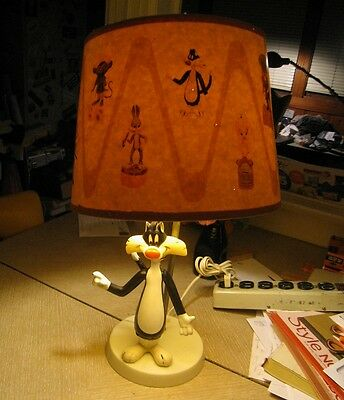Rare Vintage 1969 Looney Tunes Sylvester Lamp & Original Shade Moving Parts