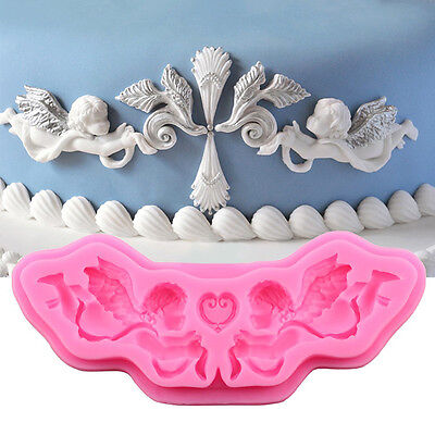 3D Mode 2 Engel Silikonform Fondant Kuchen Ausstecher Backform Mould DIY