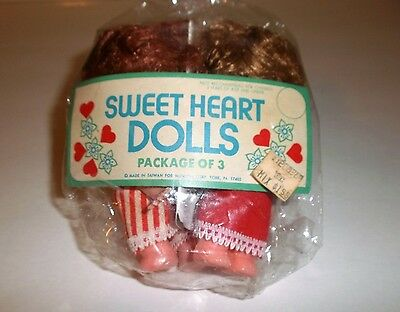 "Vintage 3 Pack Mccrory Sweet Heart Plastic Craft Dolls 5"" New in Open Package"